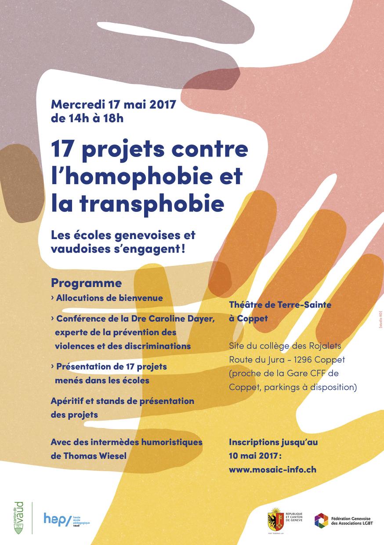 17 projets contre l'homophobie et la transphobie: les écoles genevoises et vaudoises s'engagent!